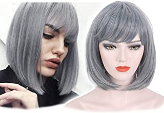 STfantasy Summer Bob Wigs with Bangs Ombre Grey Short Straight for Women Cosplay Costume Party Daily Use Hair 14 Inches