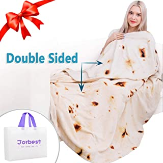 Jorbest Burritos Tortilla Blanket 2.0 Double Sided for Adult and Kids, Comfort Throw Blanket, Novelty Round Food Blanket for Everyone - Diameter 71 inches, Yellow Blanket-Double Sided a