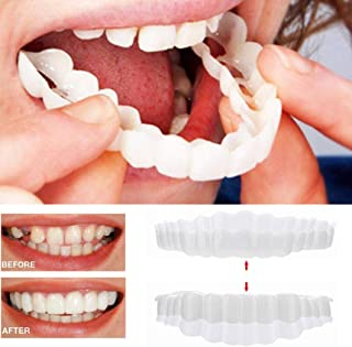 Inverlee 2Pcs Comfort Fit Flex Cosmetic Teeth Denture Teeth Top Cosmetic Veneer (1Pc Top+1Pc Bottom+2pc Adhesive)