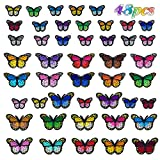 Coopay 48 Pieces Butterfly Iron on Patches Butterfly Embroidery Applique Patches for Arts Crafts, DIY Decor, Jeans, Jackets, Shoes, Bags Repair Patch, 3 Styles