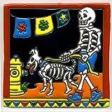 Decoración suelo{008} esqueleto - pasear al perro con el perro - 15 x 15 cm, hecho a mano en México como salvamanteles para Surfer, gótico, Broma, Halloween, patrones de Dia muertos.