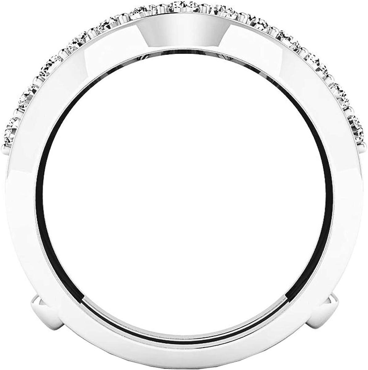 Dazzlingrock Collection 1.60 Carat (ctw) 10K Gold Round Lab Grown Diamond Ladies Wedding Double Enhancer Guard Ring