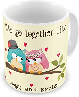 Indigifts Valentine Day Gift We go Together Quote Printed White Coffee Mug 330 ml - Valentine Gifts for Girlfriend Boyfriend, Birthday Gift for Husband Wife, Love Gifts