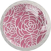 AITAI Roze Rozen Bloemen Bloemen Ronde Kabinet Knop 4 Pack Trekt Handvatten