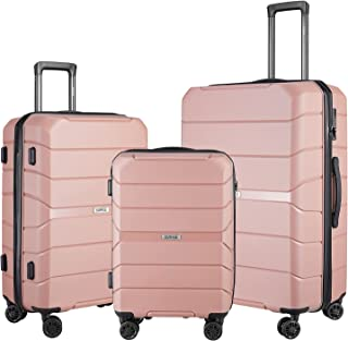 SURFLINE Hardside Luggage Set Suitcases with Spinner Wheels Lightweight Luggage with TSA Lock Rose Gold 3 Piece (28 inch/2...