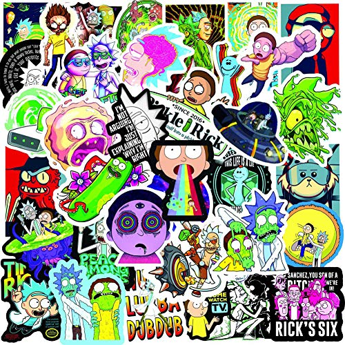 100PCS Rick and Morty Stickers,Waterproof Stickers for Laptop Skateboard Water Bottles Computer Phone Cute Anime Stickers (Rick and Morty)