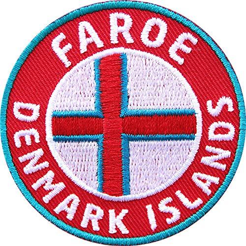 Club of Heroes 2 x Färöer Inseln Aufnäher 60 mm gestickt/Dänemark Denmark Faroe Islands/Aufbügler Flicken Sticker Bügelbild Patch/Flagg-Patches auf Kleidung Rucksack/Reiseführer Flagge Fahne