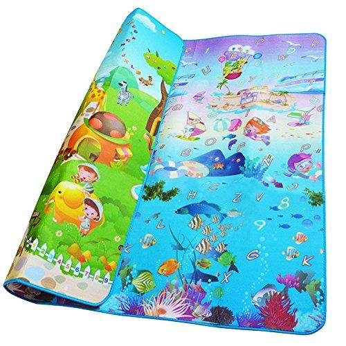 Kontext - Esterilla de espuma para niños pequeños (190 x 170 cm), diseño de mundo acuático