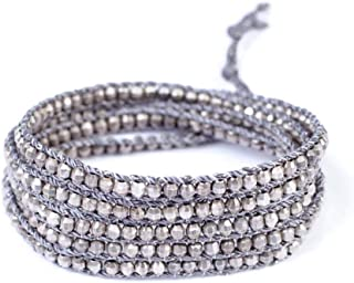 Antique Silvertone Nugget Wrap Bracelet on Grey Cord
