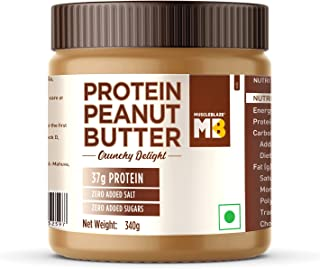 MuscleBlaze High Protein Natural Peanut Butter Unsweetened, (Crunchy Delight, 340g)