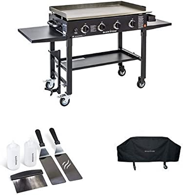 Blackstone 36 inch Outdoor Flat Top Gas Grill Griddle Station - 4-burner - Propane Fueled - Restaurant Grade - Professional Quality - With Cover and Accessory Kit