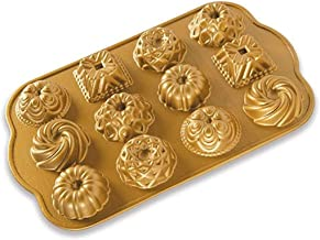 Nordic Ware 85677 Charms Cast Bundt Pan, 1.2 Cup Capacity, Gold