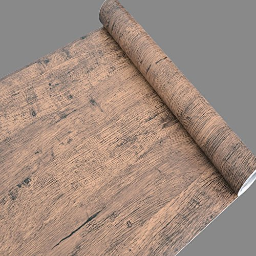 Yifely Brown Wood Grain Drawer Covering Paper Self Adhesive Shelf Liner Table Door Sticker 17.7 Inch by 9.8 Feet