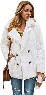 jessie Womens Casual Lapel Pea Coat Fleece Fuzzy Faux Shearling Button Warm Autumn Winter Outwear Jacket with Pockets