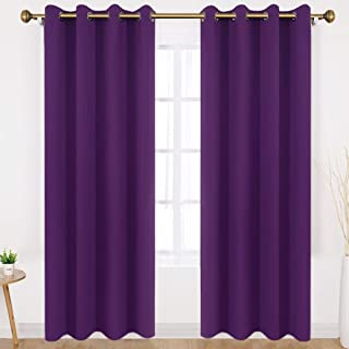 HOMEIDEAS Blackout Curtains Wide 52 X 95 inches Long Set of 2 Panels Purple Room Darkening Curtains/Drapes, Thermal Insulated Grommet Window Curtains for Bedroom & Living Room