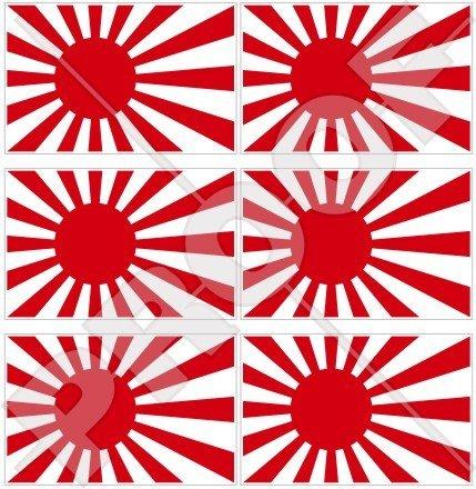Drapeau Japon Japonais Rising Sun 40 mm (40,6 cm) Téléphone Mobile Mini en vinyle autocollants, Stickers x6