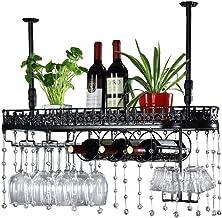 Ceiling Wine Racks, Bottle and Glass Holder, Hanging Stemware Glass Holder, Vintage Wall Shelf Storage Rack for Living Roo...