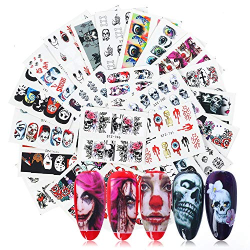 Halloween Nail Stickers Day of The Dead Nail Art Accessories Decals 25 Sheets Ghost Skull Eye Clown Hulk Water Transfer Nail Art Stickers for Halloween Party Supply Fingernails Toenails Decorations