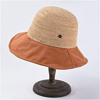 Summer Straw hat Female Hand Hook Lafite Straw hat Japanese Dome Cotton Stitching Fisherman hat Wild Sun hat` TuanTuan (Color : Orange)
