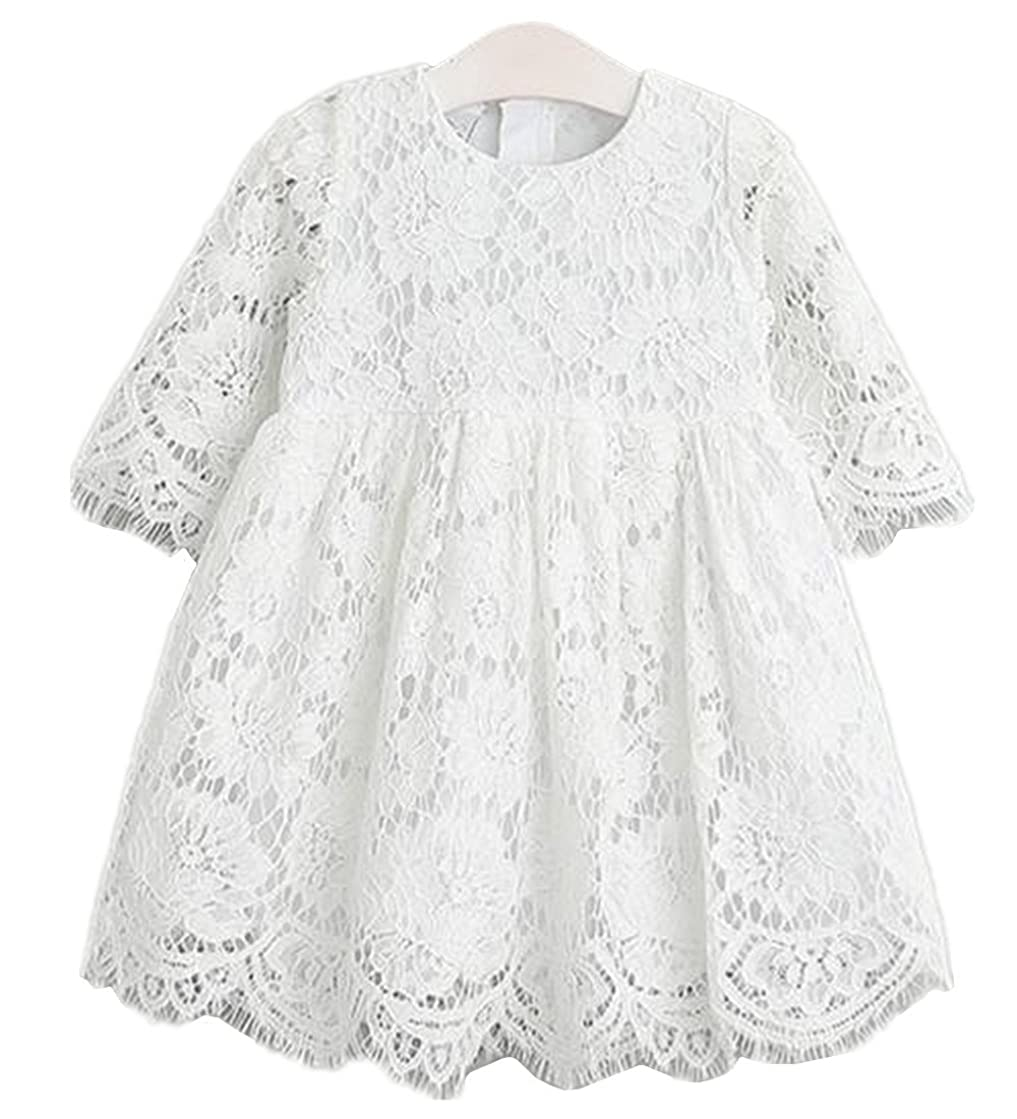 2Bunnies Girl Vintage Holly Floral Scallop Lace Flower Girl Dress