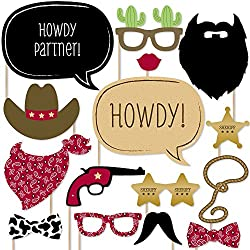 Image: Big Dot of Happiness | Little Cowboy | Western Photo Booth Props Kit