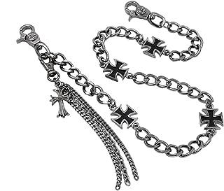 Uniqsum Maltese Cross Charm wallet chain Biker Punk Key chain With Detachable Keyring