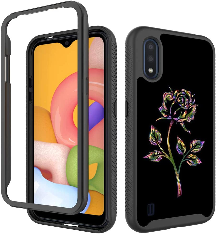 Samsung Galaxy A01 Case Fashion,Cute 2 in 1 Hybrid Hard Plastic Soft TPU Bumper Cover Shockproof Protective Phone Cases for Samsung Galaxy A01 5.7inch - Colorful Rose