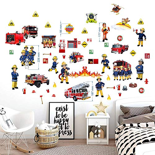 BOARA Wandaufkleber Fireman sam wandtattoo Wandbilder für Jungs 2 Blatt Feuerwehrmann Sam Pattern 750mmX 350mm