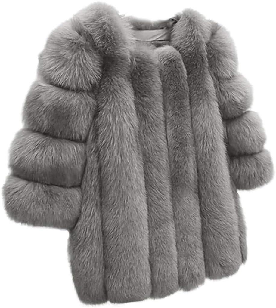 Rosennie Warme Damen Mäntel Winter Kunstpelz Plüsch-Mantel Damen Elagant Pelzjacke Kunstpelz Outwear Langarm Frauen Winterjacke Wintermantel Plus Größen Faux Coat Hellgrau