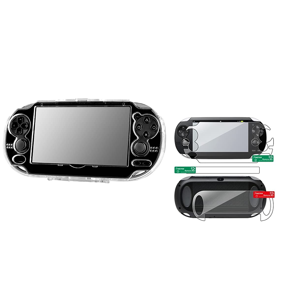 Insten Clear Hard Crystal Case + Full Body Screen Protector Compatible With Sony PlayStation Vita PCH-1000 (PS Vita)