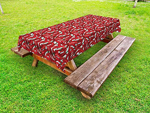 Ambesonne Peppers Outdoor Tablecloth, Pattern of Chili Peppers with Dotted Background Vegan Spicy Food Theme, Decorative Washable Picnic Table Cloth, 58' X 84', Vermilion Green