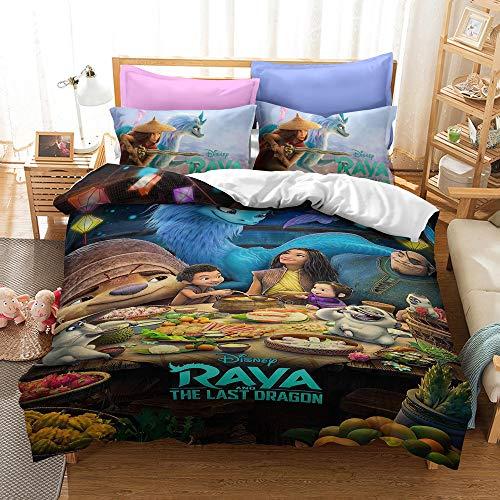 Raya and The Last Dragon - Juego de funda nórdica (3D, 200 x 200 cm + 80 x 80 cm x 2 cm)