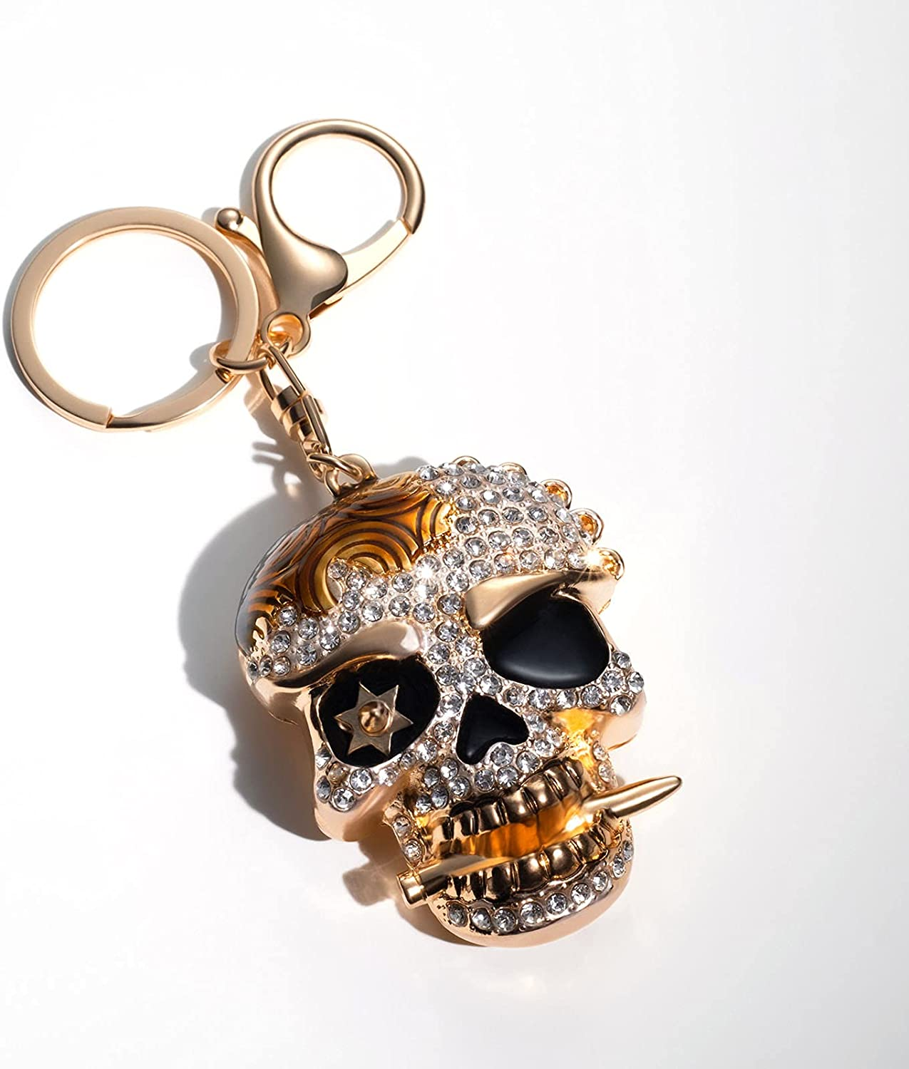 SSJABH Creative Limited time trial price Metal Crystal Popular products Skull Family Key Keychain Chain Ke