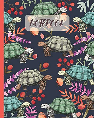 Notebook: Cute Tortoises Drawing & Flowers - Lined Notebook, Diary, Track, Log & Journal - Gift Idea for Girls Teens Women Who Love Turtles & Tortoises (8
