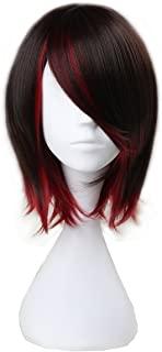 Miss U Hair Girl's Short Straight Black Brown and Red Anime Cosplay Costume Wig C028