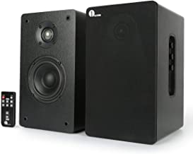 1byone Powered Wireless Classic Bookshelf Speaker with 4 Inch Woofer and 1 Inch Tweeter, 2X30 Wattage RMS, Black