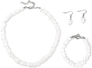 Ainsi Benova Natural Square Puka Shell Chip Necklace Bracelet Earrings Set, Adjustable Choker Necklace Hawaii Beach Boho Jewelry Set