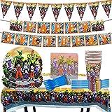 Party Supplies, Miotlsy 85 Piezas Dragon Ball Decoración Happy Birthday Party Vajilla Decoraciones de Vajilla con Pancartas, Platos, Servilletas, Manteles para Niños 10 Invitados