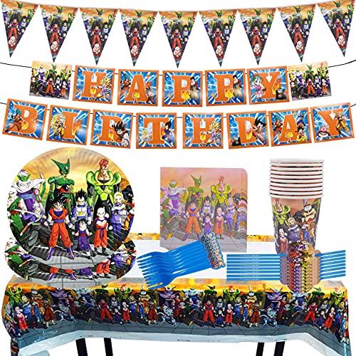 Party Supplies, Miotlsy 85 Piezas Dragon Ball Decoración Happy Birthday Party Vajilla Reutilizable Decoraciones de Vajilla con Pancartas, Platos, Servilletas, Manteles para Niños 10 Invitados