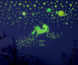 Sionoiur 214pcs Glow in The Dark Stars Unicorn and Planets Wall Decals Colorful Wall Stickers Glowing Ceiling Decals Mural...
