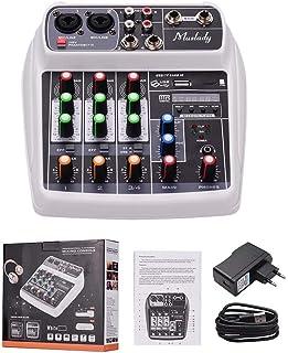 MZGA Muslady Mixer BT MP3 USB Input +48V Phantom Power for Music Recording (Color : White EU Plug)