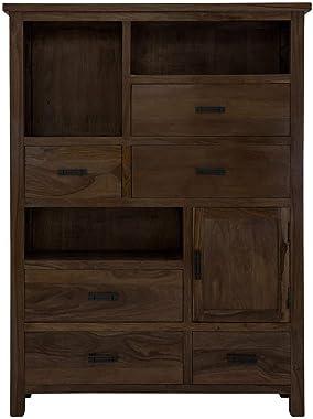 Angel Furniture Solid Sheesham Wood Vertical Storage Cabinet Large (Standard, Walnut Finish)
