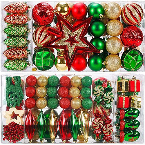 89 Pieces of Assorted Shatterproof Christmas Ball Balls Ornaments Set Seasonal Decorations with Reusable Hand-Help Gift Boxes Ideal for Xmas, Holiday and Party