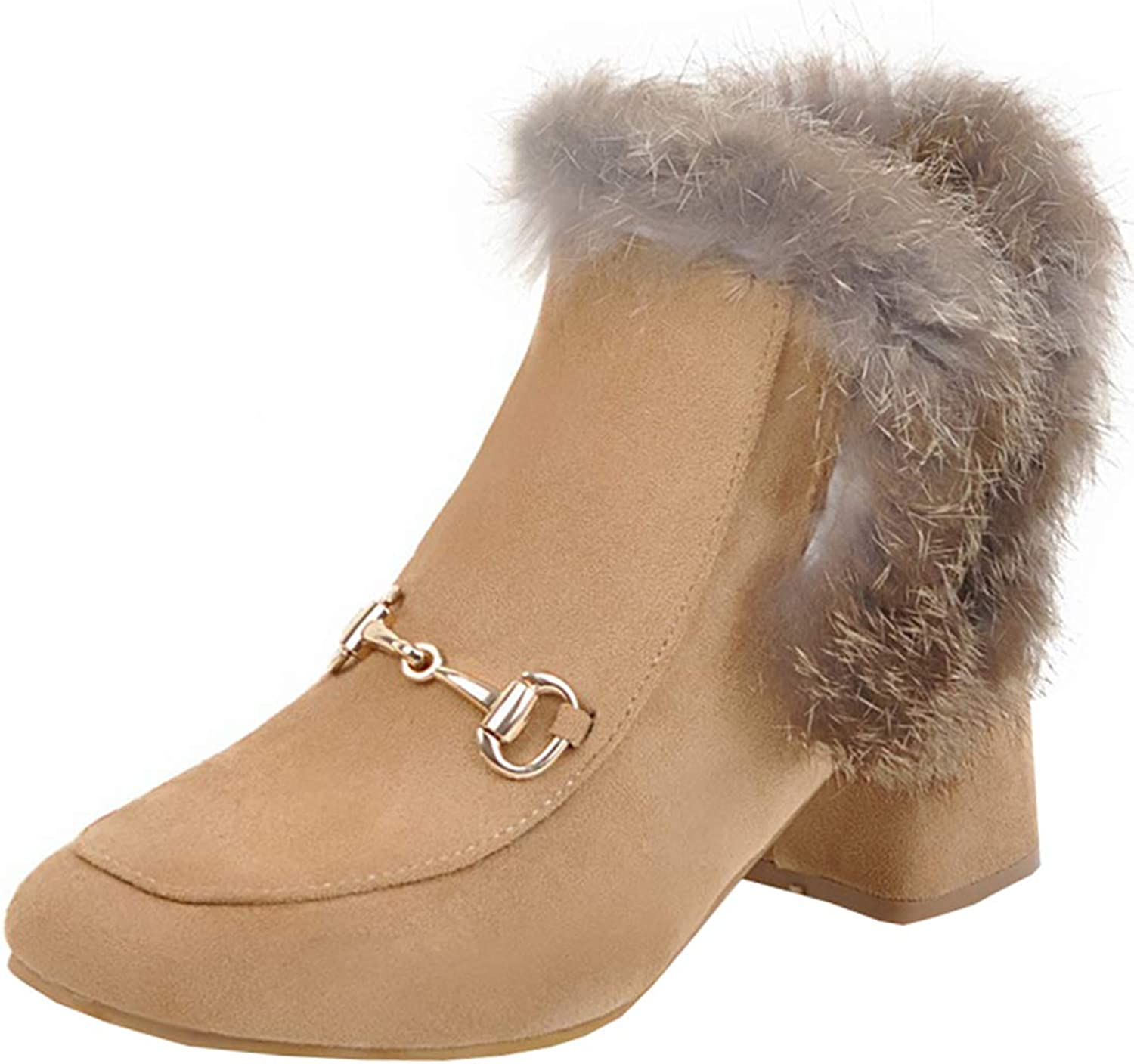 Artfaerie Womens Chunky Heel Ankle Boots Faxu Fur Boots Block Mid Heel Booties Warm shoes