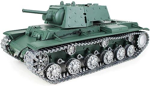 Ahorre 35% - 70% de descuento AXJJ Tanques RC Tank 1 16 2.4G KV-1Metal Plate Control Control Control Remoto Combate Ejército BaTalla Militar, RC Tank con Cable de Cargador Control Remoto Panzer Tank  ventas en linea