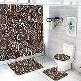 ZDDWLDL Duschvorhang-Set Graubraune Blaue Mandalablumen Badezimmerteppich-Set 3D Gedruckter Duschvorhang Polyester Wasserdicht rutschfest Badvorleger WC-Deckelbezug 180x200 cm