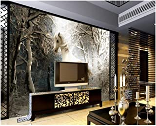 Jiling 3D Wallpaper Fashion Beauty Wall Paper Winter Scenery Horse Running Tv Background @320X240Cm