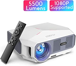 """Projector, COOAU 5500 Lumens Home Video Projector, Support 1080P and 200"""" Screen Playing with Hi-Fi Speakers, Compatible with TV Stick / Phone/ Laptop/ DVD Player /PS4"""