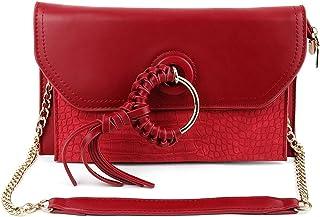 Odette Pretty Cherry Red Textured Envelope Clutch