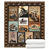 YunTu Motorcycle Blanket Super Soft Sherpa Throw Blankets for Bed Sofa and Couch Cool Motorcycle Gifts for Men and Women Fluffy Warm Blankets